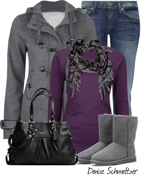 This whole combo looks so cozy. Love the purple and grey is super-cute.