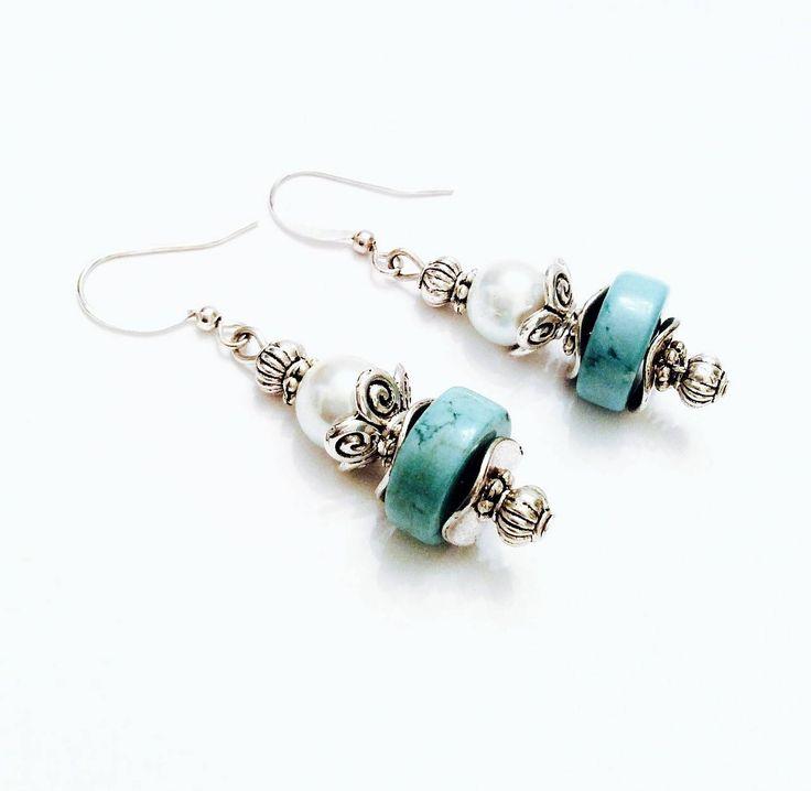 Turquoise and pearl dangle earrings - Silver earrings - Victorian style earrings - Boho Jewelry - Wedding earrings - Free shipping