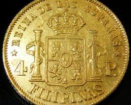 RARE GOLD COIN PHILLIPINES 4 PESO 1862   CO 141