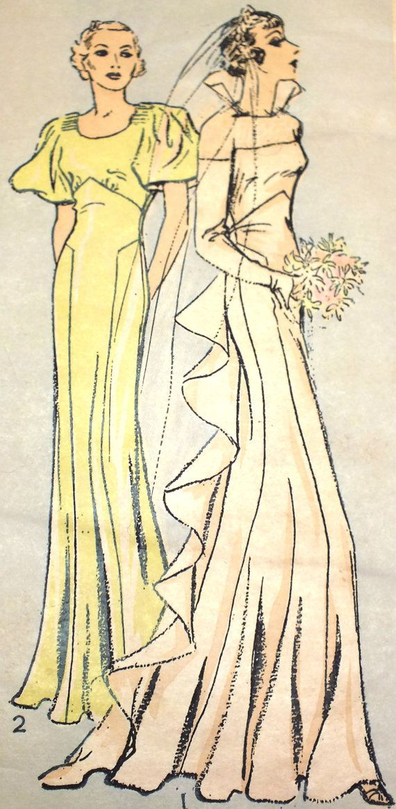 1934 Wedding Gown and Bridesmaid Dress Pattern