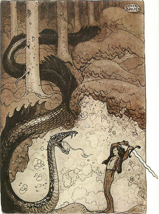 He Gave the Dragon a Mighty Blow - by Swedish artist John Bauer. Illustration from *Bland tomtar och troll* (Among Gnomes and Trolls), Swedish folklore and fairy tales.