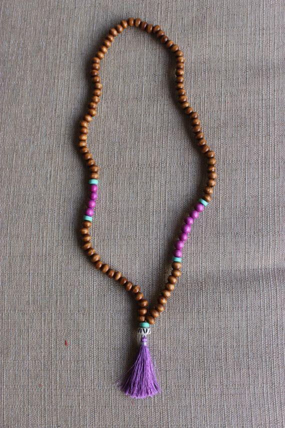 Lavender Waters Beaded Tassel Necklace by shopjustpeachy on Etsy, $22.00