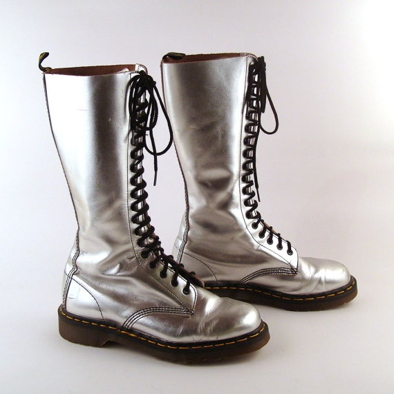 "i have these :D looks like used dm's are called ""vintage"" now and they're selling for double the original price. hmm... - Doc Martens Boots Vintage 1990 Silver by purevintageclothing, $228.00"