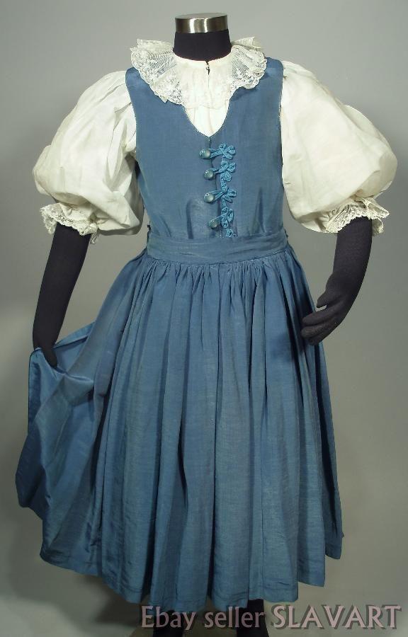 VINTAGE Slovak Girl Folk Costume Myjava blouse embroidered skirt apron vest lace
