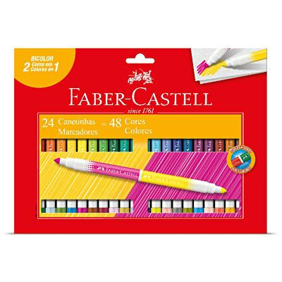 Caneta hidrográfica 48 cores (24 bicolor) 150624P Faber Castell - Escrita & Corretivos - Kalunga.com