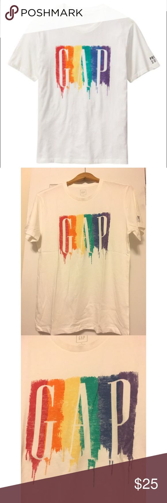 Gap Exclusive Gay Pride 2017 T-Shirt Gap Exclusive Gay Pride 2017 White T-Shirt. Size Medium, is a bit oversized. Limited edition Gap shirt that was bought during June, which is Gay Pride month.  Gap was one of the many brands to take time to commemorate and celebrate the LGBT community with events and parades across the globe. Part of their #WearYourPride campaign. Price is firm. GAP Tops Tees - Short Sleeve