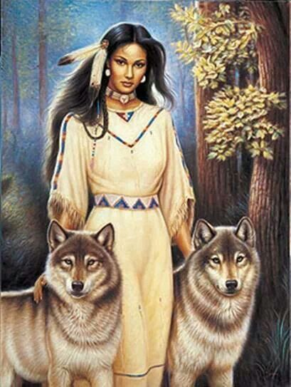 Woman with Wolves