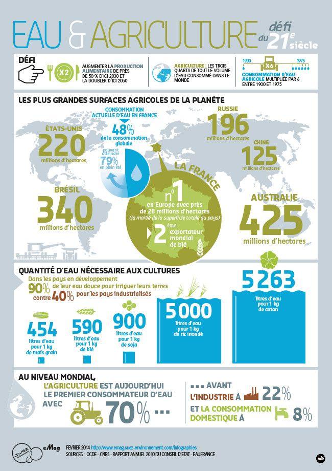 Thème AP: Défis mondiaux L'eau et l'agriculture Source: http://www.huffingtonpost.fr/2014/02/25/infographie--eau-et-agriculture-un-defi-vital-pour-le-21e-siecle_n_4854524.html