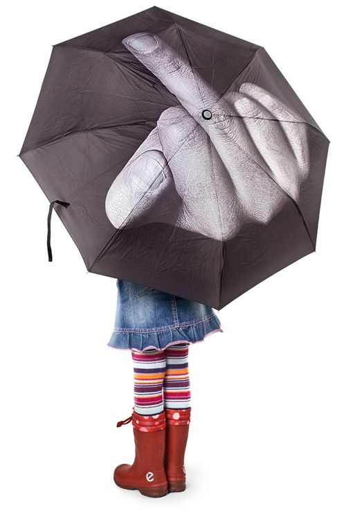 Fuck The Rain #umbrella #gadget $45: Umbrellas, Style, Middle Finger, Funny Stuff, Things, Products, Rainy Days