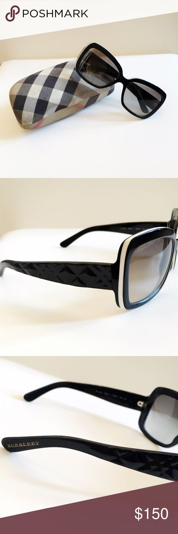 Burberry Sunglasses Black Burberry sunglasses with white accent around the frame. Case included. The case does have some small marks on them but the glasses are in great condition. Burberry Accessories Sunglasses