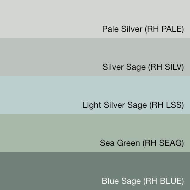 Swatchdeck Restoration Hardware Silver Sage Collection Color Paint Colors Painting