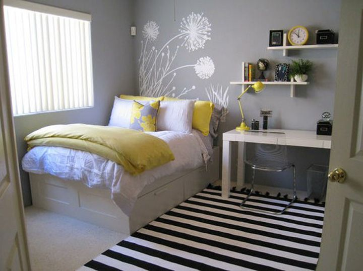 small bedroom inspiration -    storage under bed and console table as desk/vanity