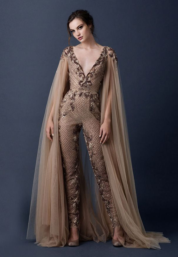 Paolo sebasion aw15 the sleeping garden blush gold bronze for Blush and gold wedding dress