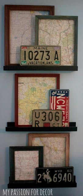 My Passion For Decor... frame maps of your travels or your home state. Cute and simple idea!!