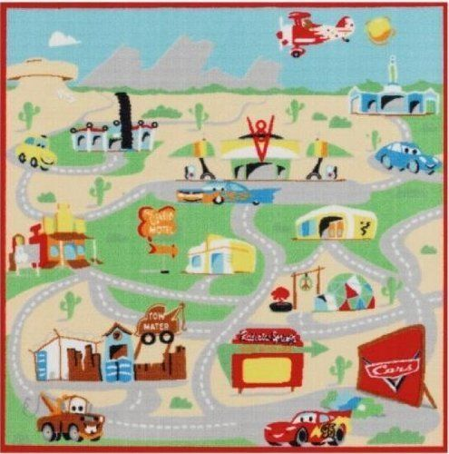 Disney Cars Pixar Interactive Game Rug by Disney. $40.00. fiber contents of pile: 100% nylon. 40in x 40in game rug includes 2 cars. 40in X 40in play rug includes: 2 toy cars 1 red 1 blue care instuctions vacuum and shake as necessary spot clean with mild soap and damp cloth. hang to dry