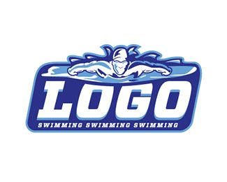 Swimming Logo Logo design - A swimmer is represented in this non conventional, artistic and unique logo. The unique presentation combines old world charm with a new, creative bent. This conveys a feeling of old-fashioned values (such trustworthiness, quality and timelessness) with a modern flair — you won't be pigeon-holed as just another swimming team with this logo!
