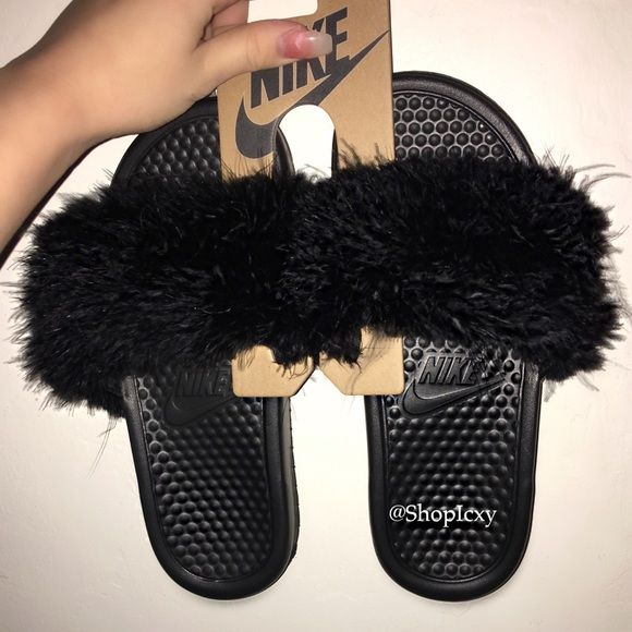 Unique Shoes Fur Slides Fur Nike Slippers Furry Nike Sandals Fluffy Black