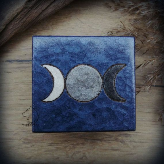 Triple Moon wooden box hand painted jewelry box witch