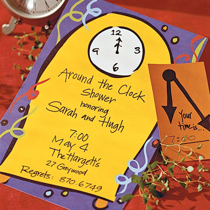 Around The Clock Shower Idea Give Each Guest An Invite With A Specified Hour That