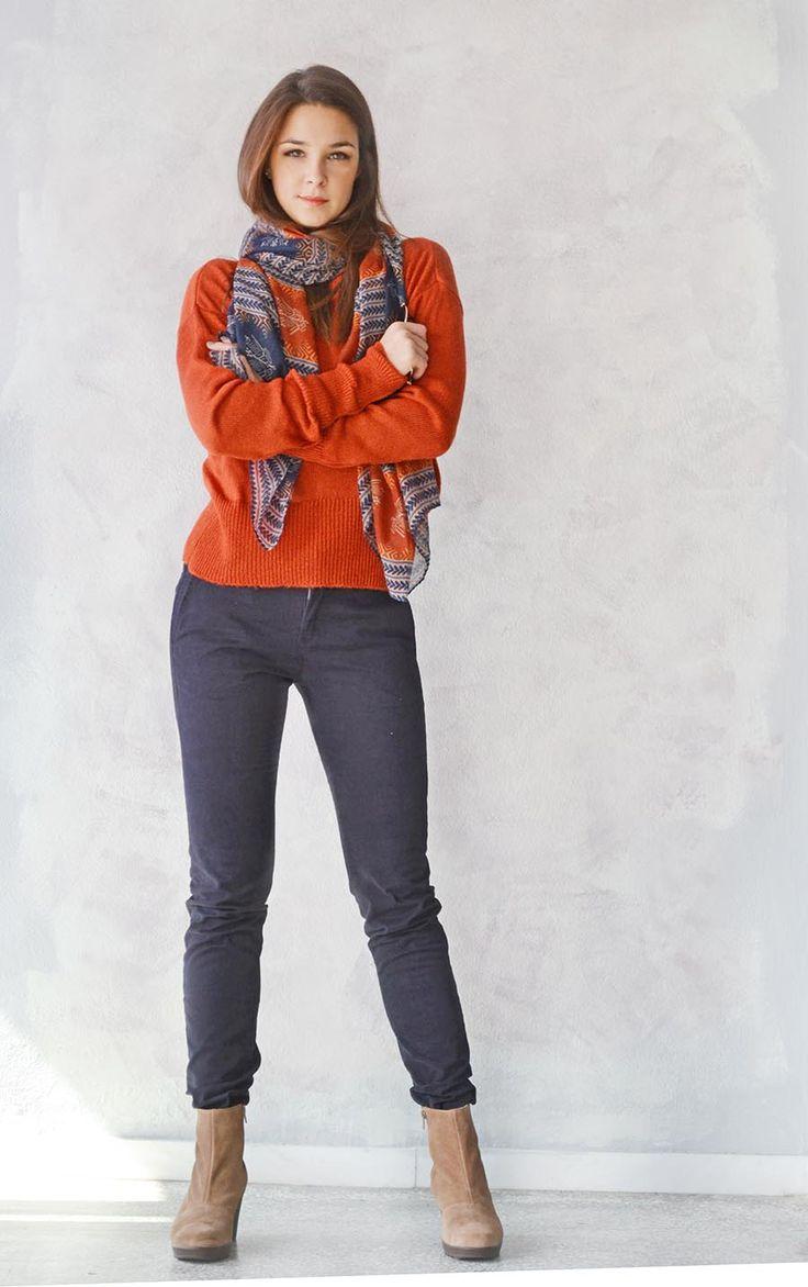 Ekai Pullover with blue pants and Cigar boots!  So cute! <3 BADILA FW1516 -Fall Into Style Collection- Shop > Badila.gr