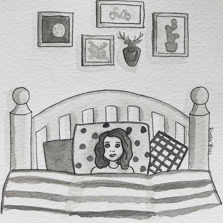 I N S Ô N I A 💭 É a hora em que todas as preocupações vêm à mente 🙁 É a primeira vez que pintei um desenho todo só em preto e branco, e usei só a tinta nanquim. Quero praticar mais! 😀 12/31 #worried #inktober #inktober2016 ⚪ ⚪ ⚪ #watercolour #watercolor #aquarelle #aquarela #ilustración #ilustração #illustration #draw #sketch #paint #desenho #dibujo #desenhando #love #amor #girl #menina #girlpower #glrpwr #portrait #retrato #aquarelinhas #blackandwhite  #pb pretoebranco #insonia