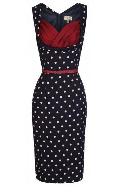 LindyBop pouzdrové šaty Vanessa, tmavé s puntíky