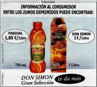 quiere señalar el precio de un zumo que llevando la misma cantidad cuesta casi el doble