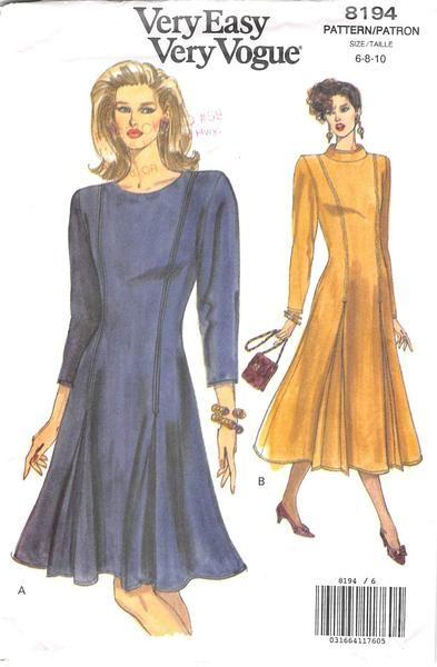 VOGUE 8194 - FROM 1991 - UNCUT - MISSES DRESS