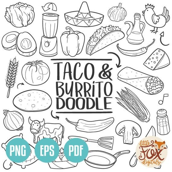Taco And Burrito Doodle Icons Mexican Fast Food Day Etsy In 2021 Doodles Scrapbook Recipe Book Doodle Icon
