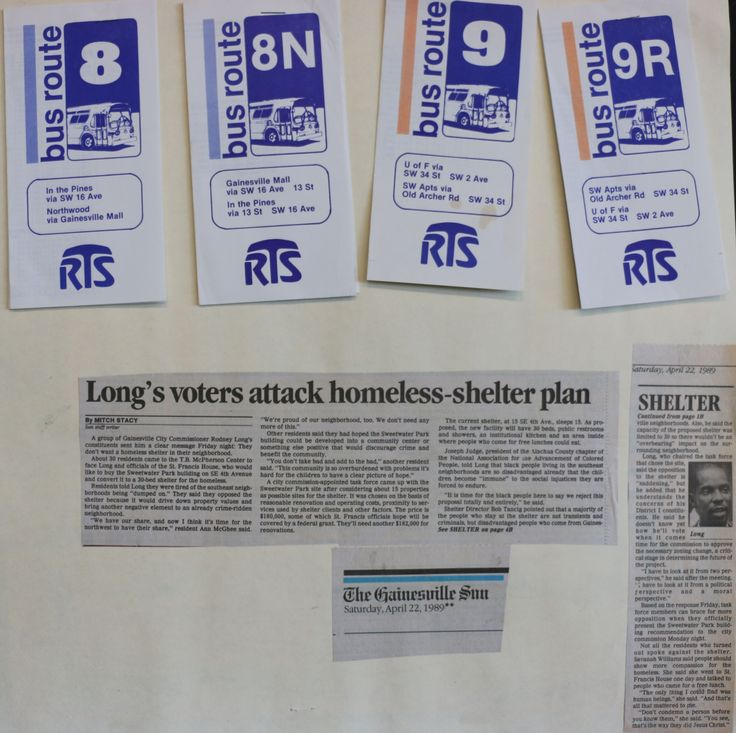 """Bus route pamphlets, News Articles from the Sun 4/22/85 """"Long's voters attack homeless-shelter plan"""""""
