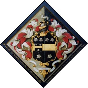 "Mrs. Dorothy Eve, the wife of Charles Eve, of Canterbury, Gent, died on June ye 16th 1755. Interred here the 26th instant aged 31 years"" .Motto: In vitae medio morimur Church of Saints Peter and Paul, Lynsted, Kent,Hatchments - Funerary Coats of Arms and practices"