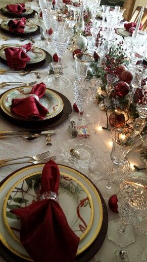 CHRISTMAS AT MISS MILLIONAIRESS`S l Ria.. Affordable burgundy and red organza napkins, garland, and table overlays as well as silver napkin rings, coasters, and wine covers available at alwayselegant.com