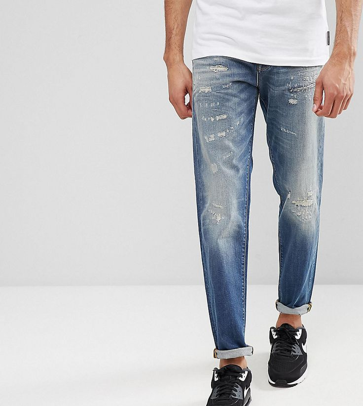 Selected Homme TALL Jeans In Tapered Fit With Rip Repair Italian Denim