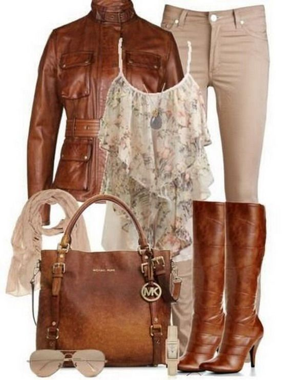 I love this kind of top--but I probably wouldn't do the leather jacket (and definitely not those heels!