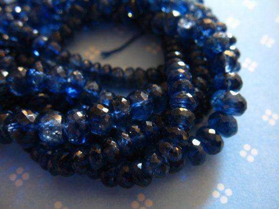 KYANITE Beads Rondelles, 3-4 or 4-5 mm, Finest Kashmir Sapphire Blue, 10 pieces - 58 kr