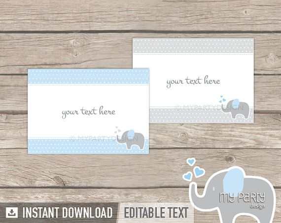 Elephant Food Labels  Place Cards  Baby Shower  by mypartydesign