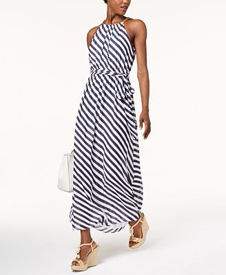 1977ee96a19 MICHAEL Michael Kors Petite Striped Chain-Trim Maxi Dress