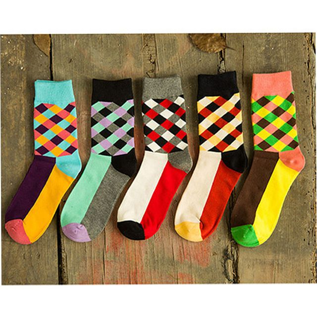 Free Shipping New Brand Happy socks British Style Plaid Socks Gradient Color High Quality Men's Cotton argyle Socks