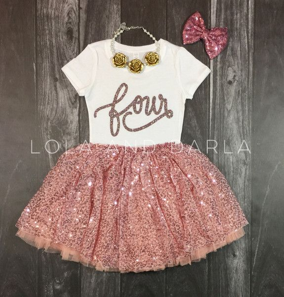 It only happens once a year! Celebrate her special day with Sparkle! Four shirt in pink confetti sparkle This listing is only for the t shirt. Available Sizes: 2T, 3T, 4T, XS4/5 SMALL 6/6x Toddler shi