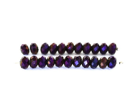 2136_Purple glass beads 6x4 mm, Faceted roundels crystals, Opaque beads, Сrystals beads, Metallic rondelle, Violet beads for jewelry_95 pcs.
