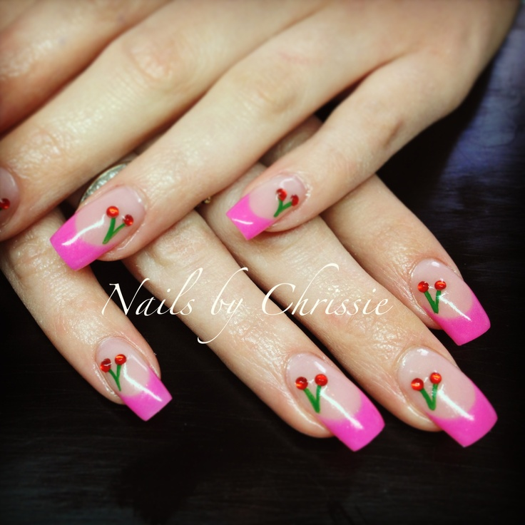 Hand Painted Gel Nails by Chrissie Pearce x #nails #nailart