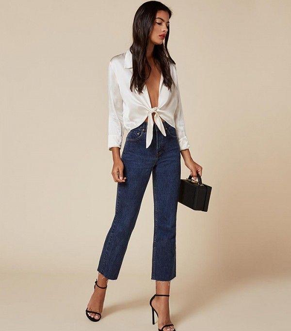 Open front, silk shirt, denim and heels