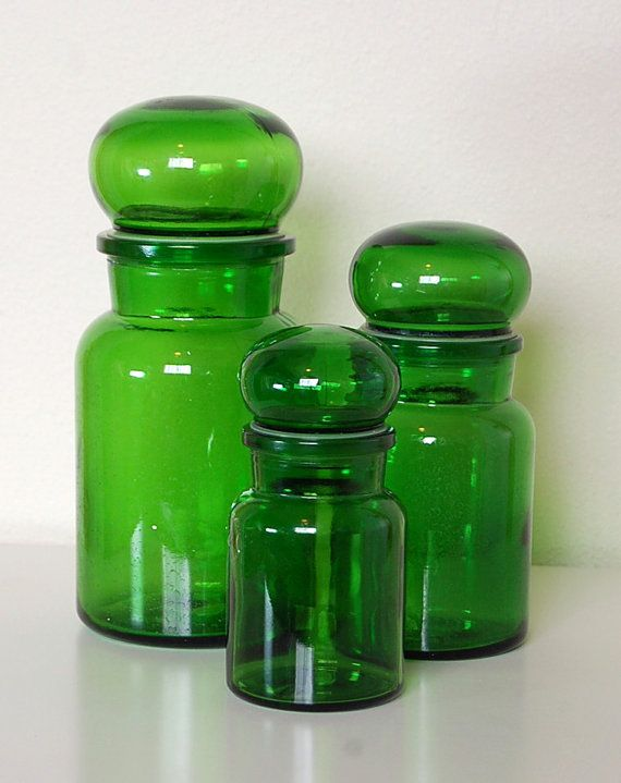 Vintage Retro Green Glass Apothecary Bottle by SprinklesInTime, $25.50