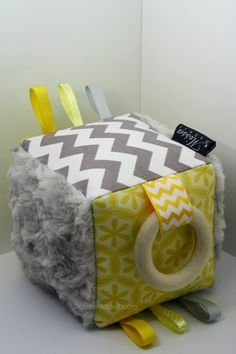 """""""T.T. Cube"""" yellow & grey tactile teether rattle softies, made by Missa Made It."""