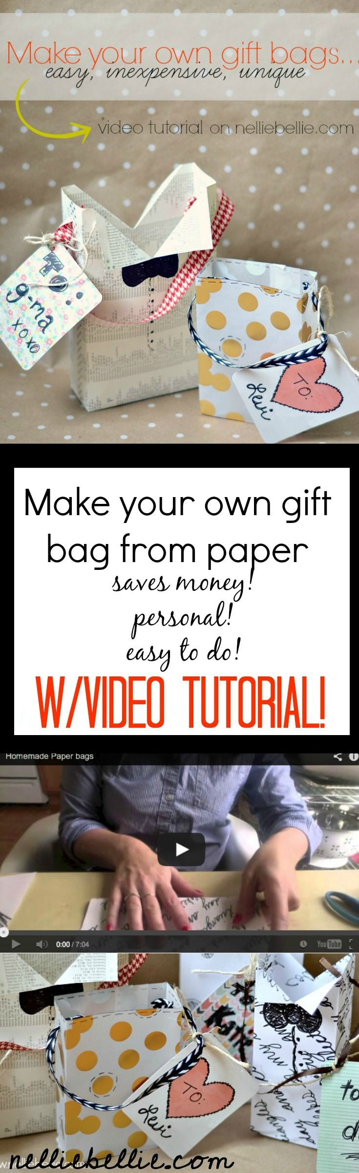 How to make your own gift bags from any kind of paper! A great idea for a personal touch to a gift! With video tutorial.