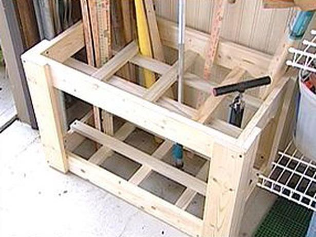 Construct a storage caddy for long-handled tools,