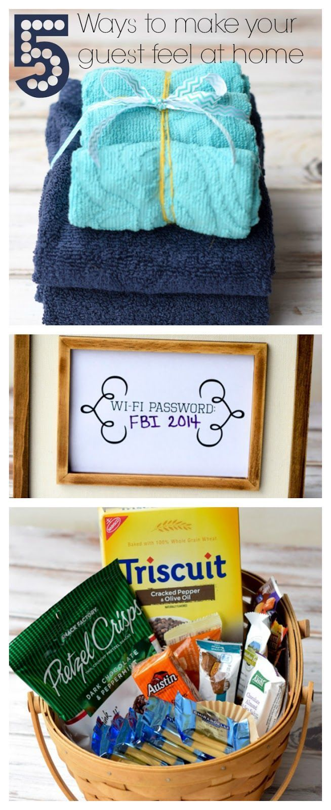 A list of 5 tips to make an overnight guest feel at home. Includes fresh towels and toiletries, snacks, coffee and more! Learn about getting your house ready fo