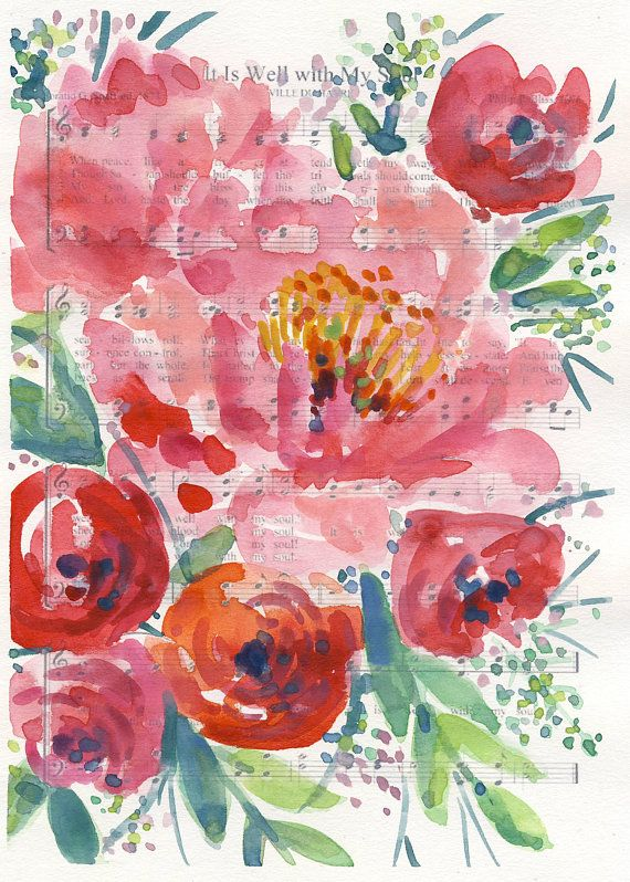 Watercolor Hymn Print It Is Well With My Soul Watercolor