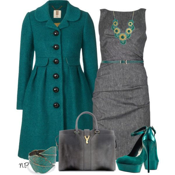 Beautiful Teal Coat with a grey dress. Love it