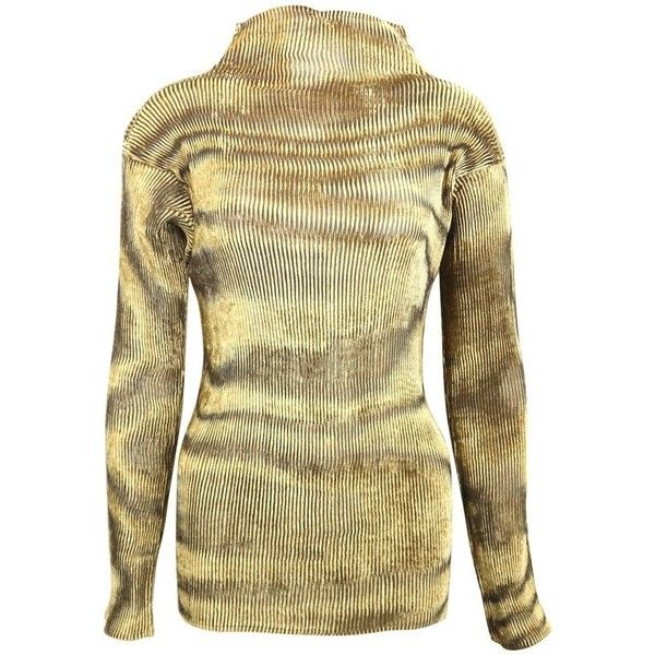 Preowned Issey Miyake Gold Velvet Plasma Wave Pattern Long Sleeved... (2.240 BRL) ❤ liked on Polyvore featuring tops, brown, long sleeve tops, gold long sleeve top, brown top, velvet long sleeve top and high neckline tops